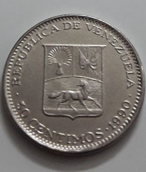 Collectible foreign coin of the beautiful design of Venezuela in 1990-mai