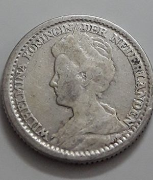 Collectible 25 cent silver foreign coin from the Netherlands in 1913-aoy