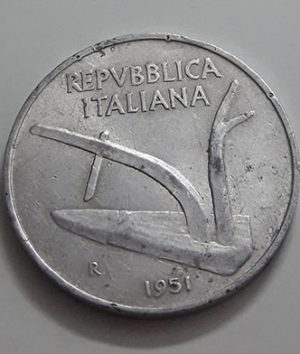 Collectible foreign coins of Italy in 1951-dao