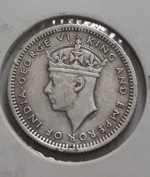 5 Cents Collectible Foreign Silver Coin Malaysia British Colony King George VI 1939-aps