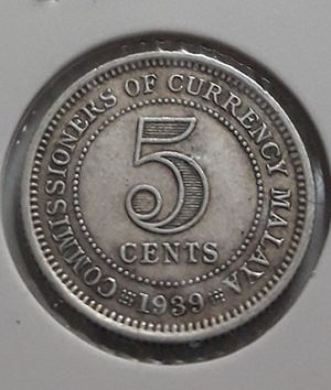 5 Cents Collectible Foreign Silver Coin Malaysia British Colony King George VI 1939-sap