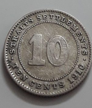 Collectible 10 cent silver silver coin of the British colony of King Edward VII in 1910-hap