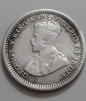 5 Cents Collectible Foreign Silver Coin Malaysia British Colony King George V 1926-apz