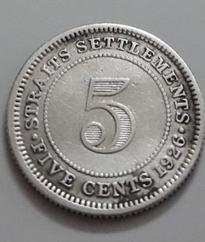 5 Cents Collectible Foreign Silver Coin Malaysia British Colony King George V 1926-zap