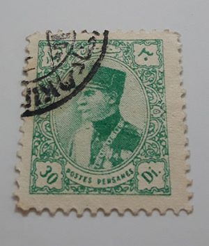 Iranian stamp of Reza Shah dinar series, unit 30 dinars, light green color-awp