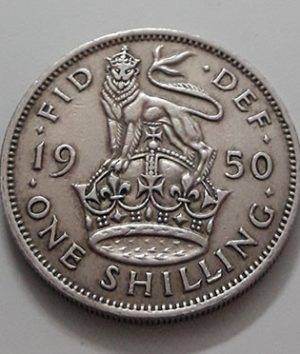 Collectible foreign coin 1 British shilling King George VI in 1950-awu
