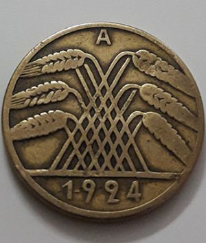 Collectible foreign coin of Germany, unit 10, 1924-aeq