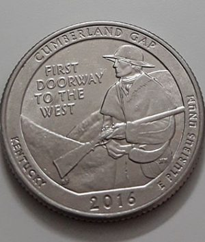 Collectible foreign coin of the US National Park Quarter Memorial stands for (D) 2016-aer