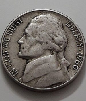 Collectible foreign currency 5 cents in the United States in 1960-aet