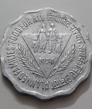 Foreign commemorative collectible coin of India in 1974-ary