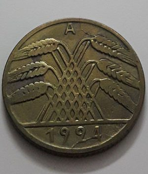 Collectible foreign coin of Germany, unit 10, 1924-ard