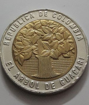 Two-metal collectible foreign coin, beautiful and rare design of Colombia, 2009-atz
