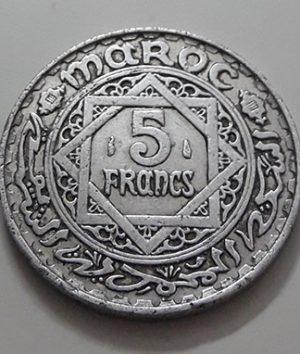 Rare collection coin of 5 francs in Morocco-xay