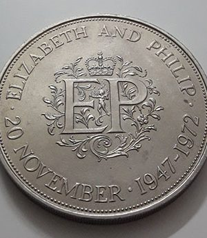 Foreign collection coin commemorating the beautiful design of Britain, large size, 1972-auw