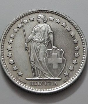 Foreign currency collectible silver 1/2 Swiss franc 1957-auh