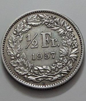 Foreign currency collectible silver 1/2 Swiss franc 1957-hau