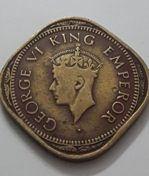 Collectible 2 foreign coins of India, British colony, King George VI, 1944-aum
