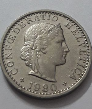 Swiss foreign collectible coin, unit 20, 1980-aoc