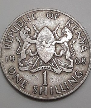 Collectible foreign currency 1 shilling Kenya 1968-sac