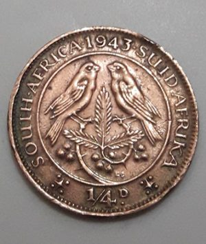 Collectible foreign coin of the rare brigade of South Africa, British colony, King George VI, 1943-bii