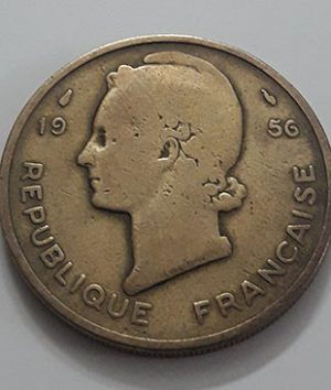 Extraordinarily rare collectible foreign coin of West Africa, France, 25 francs, 1956-ppa