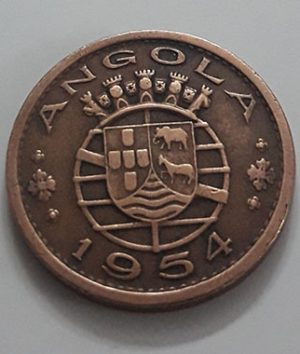 Foreign collection coin of the rare Angolan colony of Portugal in 1954-mmb