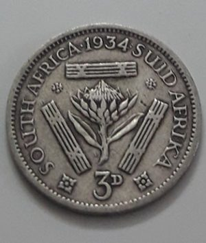 Collectible Foreign Silver Coin South Africa 3 Pence British Colony King George V 1934-yya
